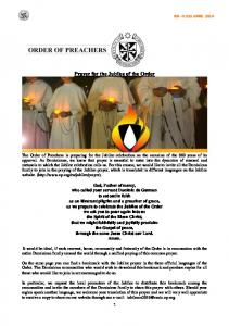 Prayer for the Jubilee of the Order