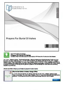 Prayers For Burial Of Ashes