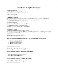 Pre Algebra & Algebra Mnemonics