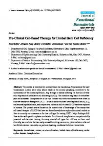 Pre-Clinical Cell-Based Therapy for Limbal Stem Cell Deficiency