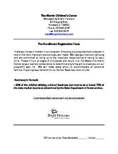 Pre-Enrollment Registration Form
