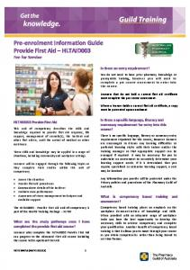 Pre-enrolment Information Guide Provide First Aid HLTAID003 Fee for Service