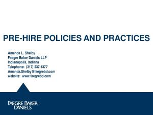 PRE-HIRE POLICIES AND PRACTICES