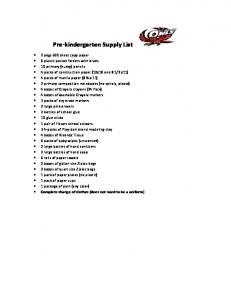 Pre kindergarten Supply List