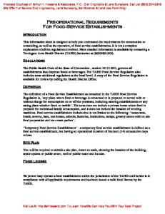 Pre-operational Requirements For Food Service Establishments