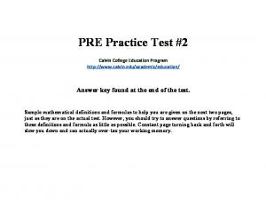 PRE Practice Test #2