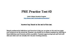 PRE Practice Test #3