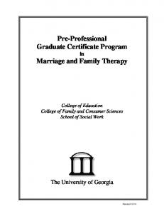 Pre-Professional Graduate Certificate Program in Marriage and Family Therapy