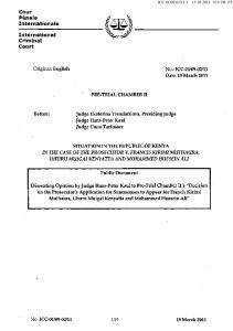 PRE-TRIAL CHAMBER II. Judge Ekaterina Trendafilova, Presiding Judge Judge Hans-Peter Kaul Judge Cuno Tarfusser