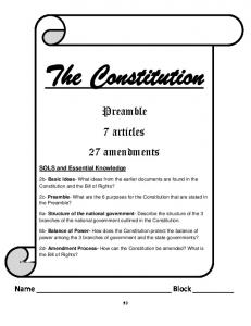 Preamble 7 articles 27 amendments. 2b- Basic Ideas- What ideas from the earlier documents are found in the Constitution and the Bill of Rights?