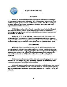 PREAMBLE CODE OF ETHICS