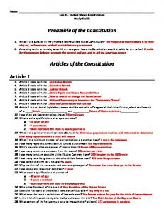 Preamble of the Constitution. Articles of the Constitution