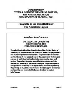 Preamble to the Constitution of The American Legion