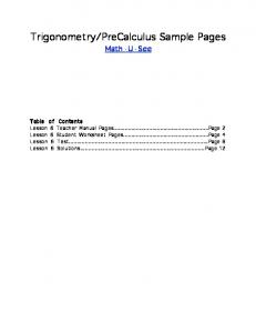 PreCalculus Sample Pages