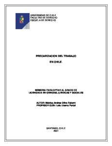 PRECARIZACION DEL TRABAJO EN CHILE