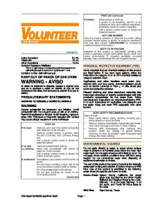 PRECAUTIONARY STATEMENTS WARNING PERSONAL PROTECTIVE EQUIPMENT (PPE): ENVIRONMENTAL HAZARDS