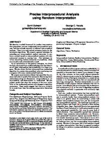 Precise Interprocedural Analysis using Random Interpretation