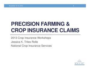PRECISION FARMING & CROP INSURANCE CLAIMS