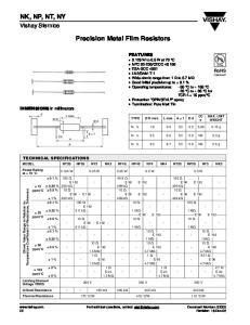 Precision Metal Film Resistors
