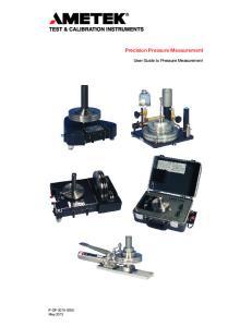 Precision Pressure Measurement. User Guide to Pressure Measurement
