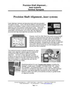 Precision Shaft Alignment...laser systems