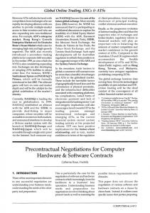 Precontractual Negotiations for Computer Hardware & Software Contracts