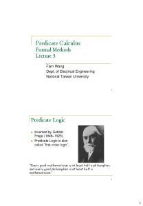Predicate Calculus Formal Methods Lecture 5