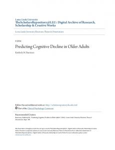 Predicting Cognitive Decline in Older Adults