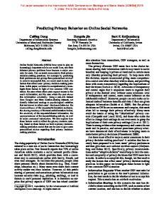 Predicting Privacy Behavior on Online Social Networks