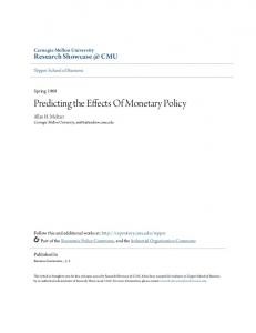 Predicting the Effects Of Monetary Policy