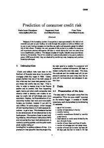 Prediction of consumer credit risk