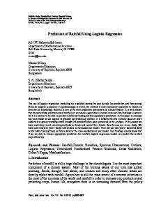 Prediction of Rainfall Using Logistic Regression