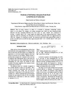 Prediction of Soil Sodium Adsorption Ratio Based on Soil Electrical Conductivity