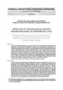 PREDICTION OF TECHNOLOGICAL PROCESS PARAMETERS BASED ON EXPERIMENTAL DATA