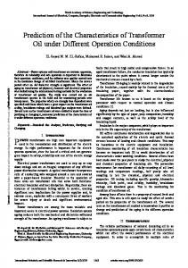 Prediction of the Characteristics of Transformer Oil under Different Operation Conditions