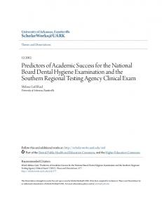 Predictors of Academic Success for the National Board Dental Hygiene Examination and the Southern Regional Testing Agency Clinical Exam