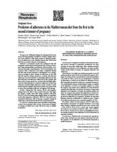 Predictors of adherence to the Mediterranean diet from the first to the second trimester of pregnancy