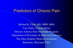 Predictors of Chronic Pain