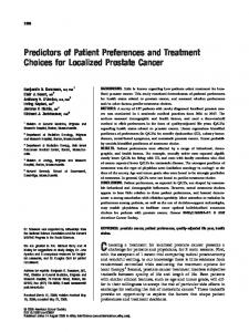 Predictors of Patient Preferences and Treatment Choices for Localized Prostate Cancer