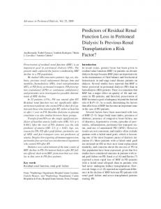Predictors of Residual Renal Function Loss in Peritoneal Dialysis: Is Previous Renal Transplantation a Risk Factor?