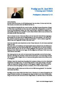 Predigt am 22. Juni Sonntag nach Trinitatis