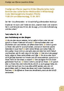 Predigt von Pfarrer Joachim Zirkler