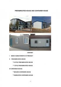 PREFABRICATED HOUSE AND CONTAINER HOUSE