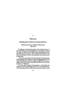 Preface. Hendrickson Christian Classics Edition