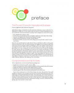 preface The Proven Choice for International Business