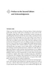 Preface to the Second Edition and Acknowledgments TIFFANI CHIN