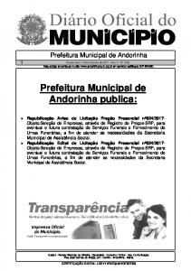 Prefeitura Municipal de Andorinha publica:
