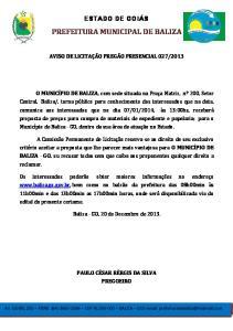 PREFEITURA MUNICIPAL DE BALIZA
