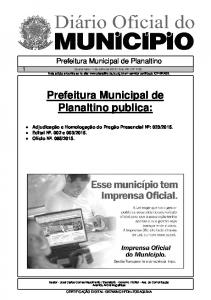 Prefeitura Municipal de Planaltino publica: