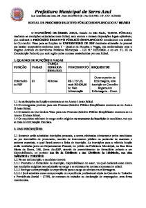 Prefeitura Municipal de Serra Azul Rua: Dona Maria das Dores, Fone: (016) Fax: (016) CEP: